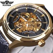 Ganador 2016 de La Manera Negro Estrella de Oro de Lujo Del Diseño Del Reloj Para Hombre de Primeras Marcas de Lujo Mecánico Esquelético Del Reloj de Hombre Reloj de Pulsera