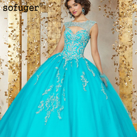 Sky Blue Quinceanera Dresses Long Tulle Appliques Ball Gown Puffy Beadings Pleat Quinceanera Dresses