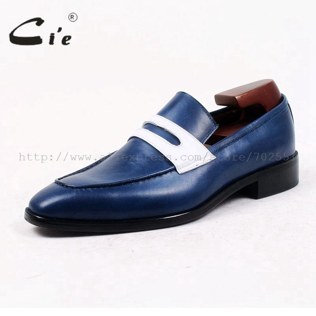 cie square toe penny shoe slip-on blue/white 100%genuine calf leather breathable bespoke custom handmade men leather loafer75