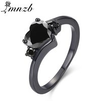 LMNZB Women Fashion Black Gold Color Ring Heart Black 2 Carat CZ Zircon Jewelry Brand Engagement Wedding Rings For Bride LRB1133