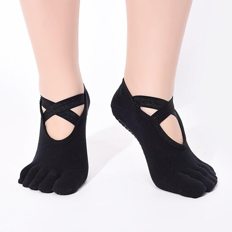 Een Paar Vijf-vinger Sokken Professionele Anti Slip Siliconen Backless Bandage Vrouwen Dans Ballet Pilates Korte Sok Slippers