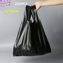 250 pz/pacco Nero Borse per Lo Shopping Bag Supermercato Sacchetto di Plastica Con Manico Sacchetti di Imballaggio Per Alimenti per la Cucina Dropshipping