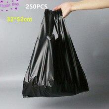 250 sztuk/paczka czarny torby torba na zakupy Supermarket plastikowa torba z uchwytem torby do pakowania żywności dla kuchni Dropshipping