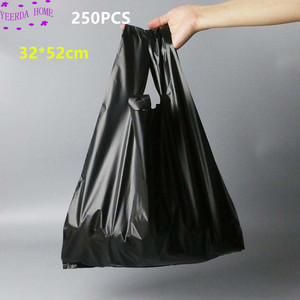 Image 1 - 250Pcs/Pack Black Bags Shopping Bag Supermarket Plastic Bag With Handle Food Packaging Bags for Kitchen Dropshipping