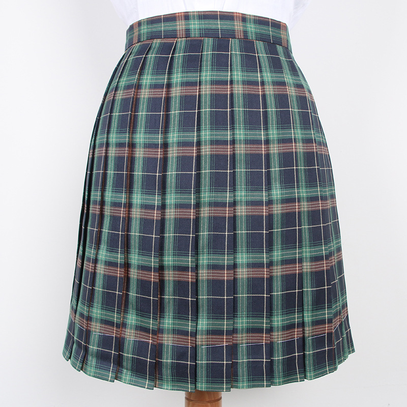 Japanese High Waist Pleated Skirts Anime Cosplay School Uniform Jk Student Girls Solid Pleated Skirt Girls Green Lattice Skirts