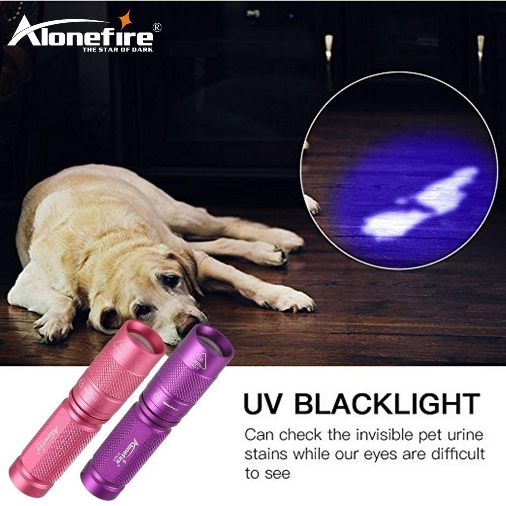 AloneFire 1PC SV001 High quality CREE LED UV Flashlight SK68 Purple Violet Light UV torch 365nm