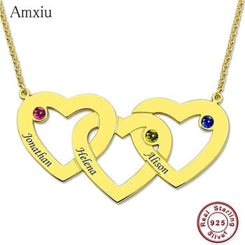Amxiu Personalized 925 Sterling Silver Necklace Engrave Three Names Necklace with Birthstones Hearts Choker Necklace For Women