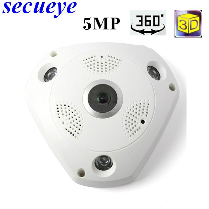 Secueye 5MP Беспроводная CCTV 360 градусов панорамная камера рыбий глаз камера 5MP wifi ip камера домашняя камера видеонаблюдения система