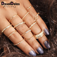 DesolDelos 12pcs Knuckle Rings Set Stylish Retro Carved Alloy Multiple Sizes Finger Rings Set for Women Girls Gold Color a suit of hot sale solid color women s alloy knuckle rings