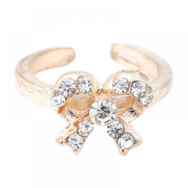 7PCS New Women Crystal Bowknot Knuckle Midi Mid Finger Tip Stacking Ring Set