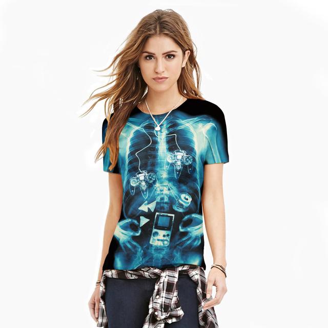2017 de moda de nova camisa das mulheres t de impressão 3d t-shirt tee camisa legal top clothing caixa torácica