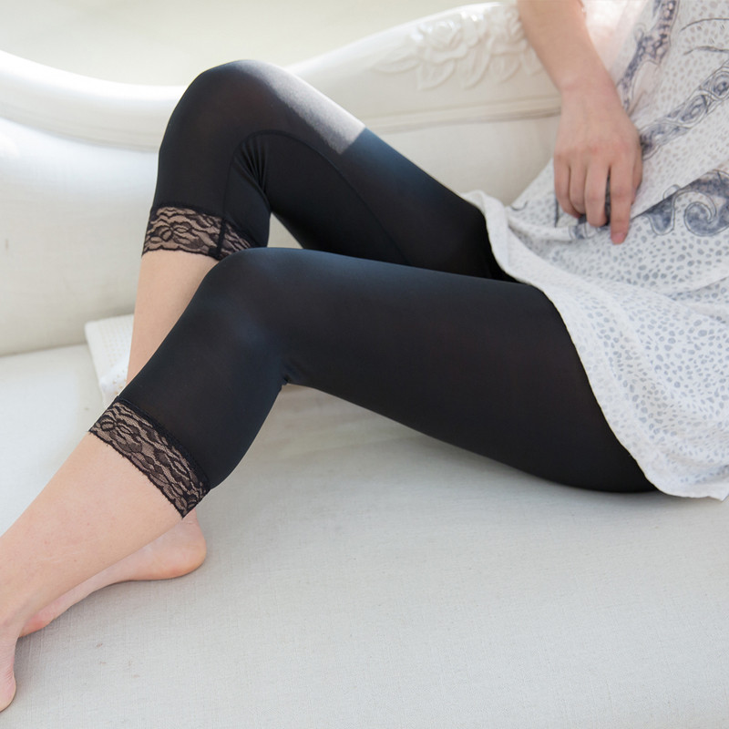 Thin Design Summer Short Leggings Women Lace Jeggings Cropped Basic Pants Push Up Capris Skinny Leggin Girl Black White Plus