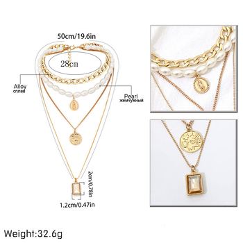 IngeSight.Z Punk Multi Layered Pearl Choker Necklace Collar Statement Virgin Mary Coin Crystal Pendant Necklace Women Jewelry 4