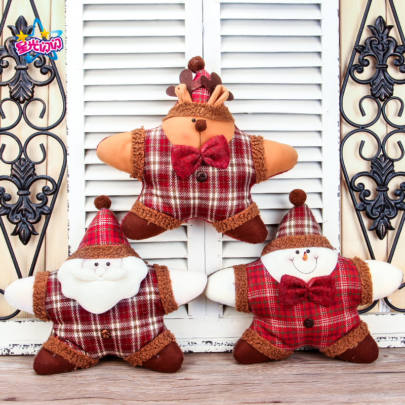 2018HOT sale Free shipping New Christmas Burlap Pillow Christmas Gift Ornaments Cartoon Pentagram Pillow Christmas Scene Holiday