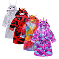 Kids Robes Flannel Cartoon Boys Girls Robes Pajamas Animal Hooded Bath Robes Long tailcoat Baby Boy Bathrobe Children sleepwear