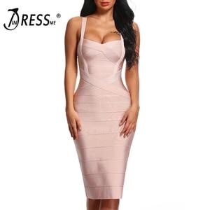 Image 4 - INDRESSME 2020 المرأة ميدي ضمادة فستان مثير السباغيتي حزام Bodycon نادي فساتين الحفلات Vestidos بالجملة