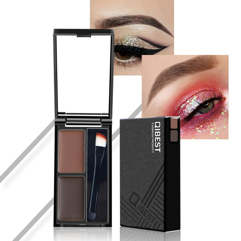 Qibest 2 Color Mix Natural Eyebrow Powder Long lasting Waterproof Eyebrow Enhancer Brow Eye shadow With Brush Makeup in Eyebrow Enhancers from Beauty Health