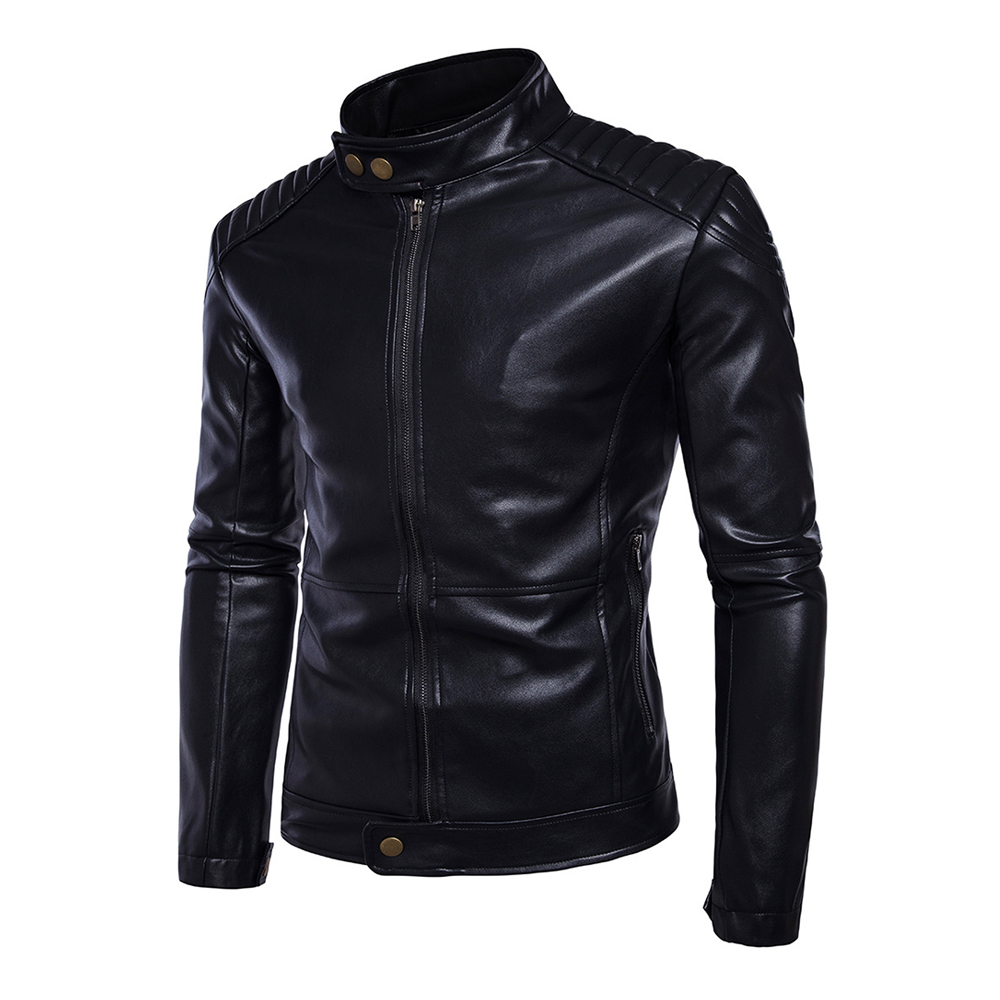 New Retro Classic Motorcycle Jacket Men PU Leather Stand Collar Punk Biker Moto Jacket Slim Coat Motorcycle Clothing stand collar zip up argyle pu leather spliced design jacket