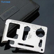 100 stks 11 in 1 Emergency Outdoor Multi Tool Leger Marine Militair Jacht Survival Kit Pocket Credit Card Knife(China)