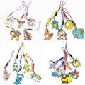 5 unids/lote 3 cm Pikachu Squirtle Cuerda del Metal del Teléfono Móvil Bolsas Colgantes de la Aleación de Accesorios Para Niños Regalos Juguetes Figuras de Acción Del Anime de Japón # E