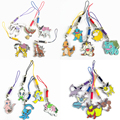 5pcs/lot 3cm Pikachu Squirtle Metal Cellphone Rope Bags Pendants Alloy Action Figures Japan Anime Accessories Kids Gifts Toys #E