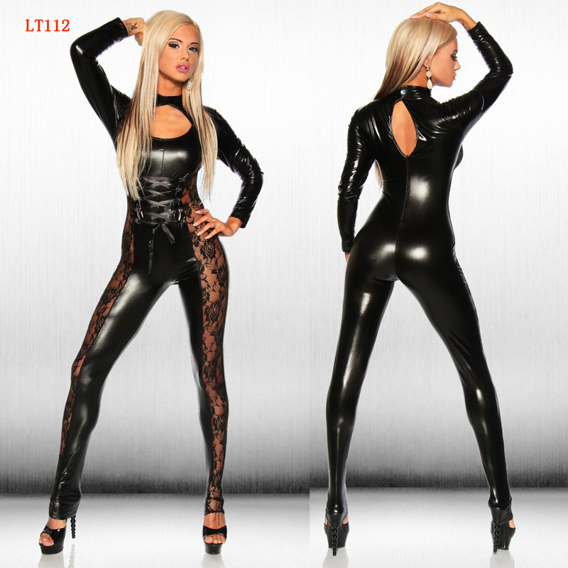 2018 Sexy Lingerie Lady Leather Costume PVC Jumpsuit Latex Catsuit Sexy Game Bodysuit Clubwear Lace Jumpsuit Crotch Zipper
