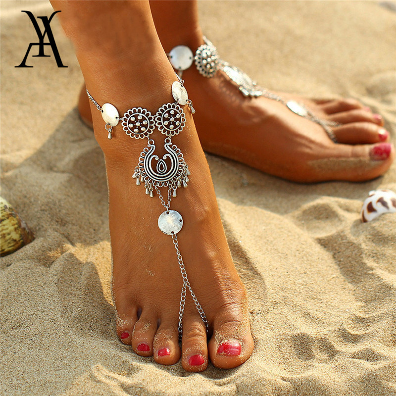 Vintage Silver Color Coin Anklets For Women Fashion Girls Barefoot Sandals Ankle Bracelet on the Leg Beach Jewelry Party Gift