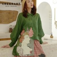 Cheerart Green Vintage Blouse Women Open Back Top Plus Size Loose Print Long Sleeve Blouse Femme Autumn 2018