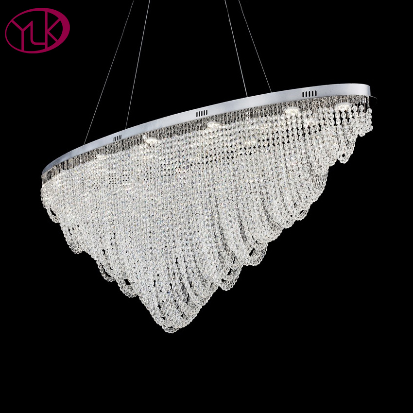 Oval Design Modern Crystal Chandelier Dining Room Hanging Light Fixture LED Lustres De Cristal Home Decor Lamp Bar Lighting modern led crystal pendant lamp dandelion chandelier light fixture for dining room bedroom lustres de cristal ac110v 240v