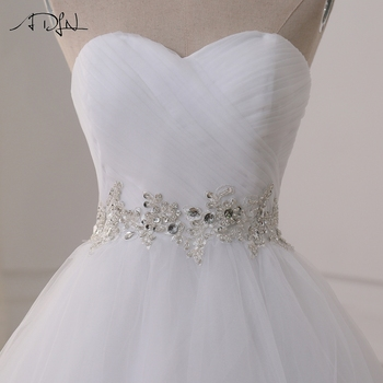 ADLN Stock Wedding Dresses Vestidos de novia Sweetheart Sweep Train Lace Applique Corset Wedding Dress Gowns Robe De Mariage 6