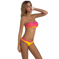 Handmade Crochet Bikini Swimwear Women Bandeau Strapless Bikinis Set Women S Swimsuits Knitted Biquini New Maillot