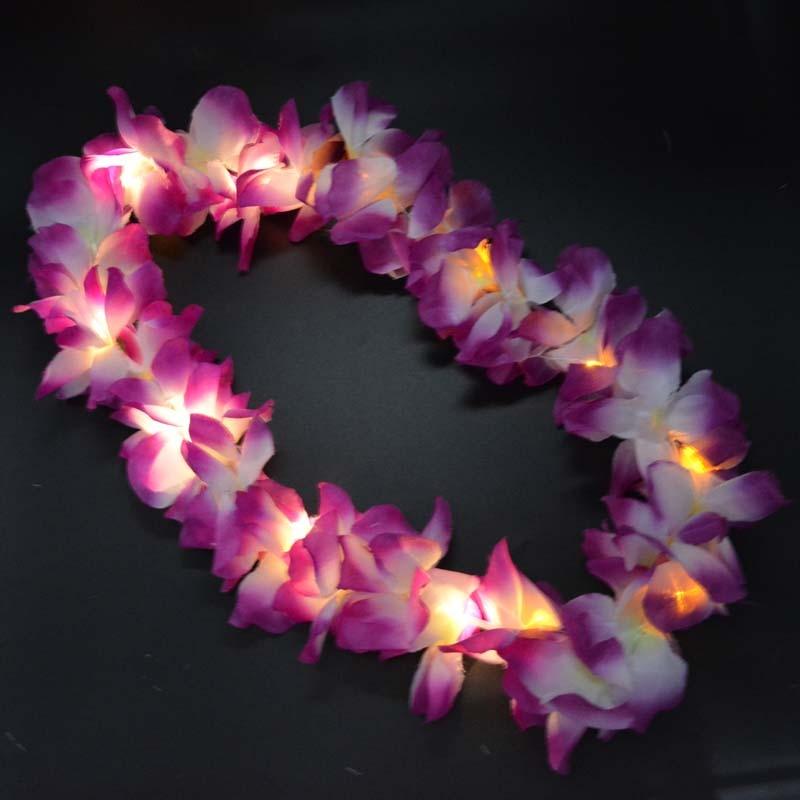 2018 Light Glowing Hawaii Luau Beach Party Flower Lei Necklace Hula Garland Wreath Decor Party 10-LEDs Wedding Decoration