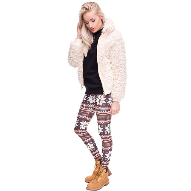 Women/Girl/Female Mid waist Leggings Funny 3D Digital Christmas Snow Printed Casual Leggings with Brown Color