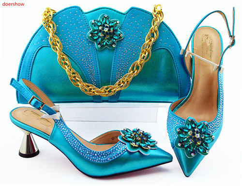 doershow italian peach shoes and bag set wholesale 2019 women wedding shoes and matching purse for women party!HLN1-33
