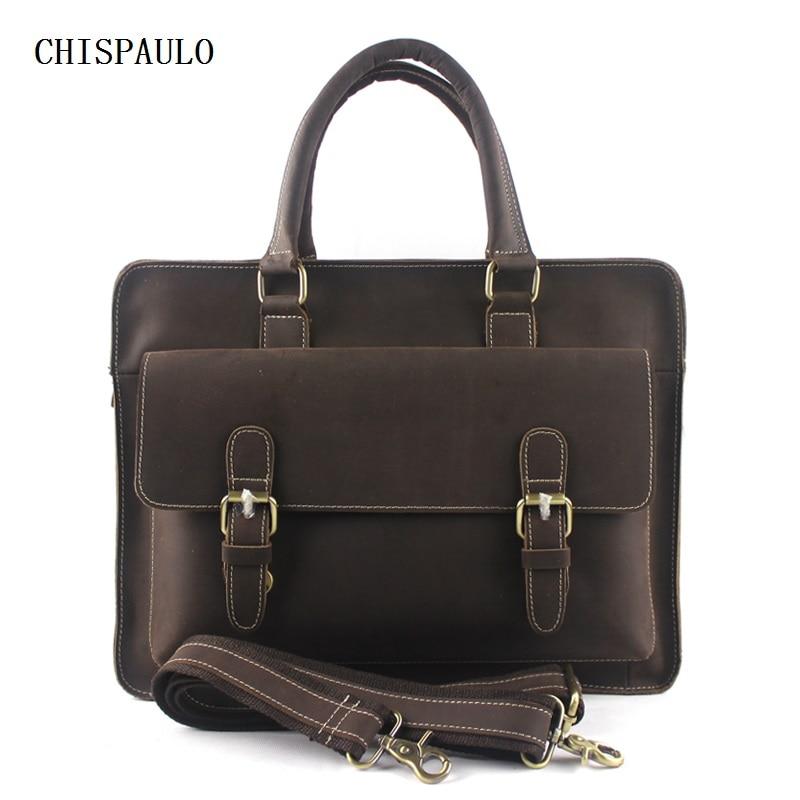 CHISPAULO Crazy Horse Genuine Leather Men Bag Casual Men's Leather Handbag Tote Men Messenger Bags Business 14inch Laptop T755
