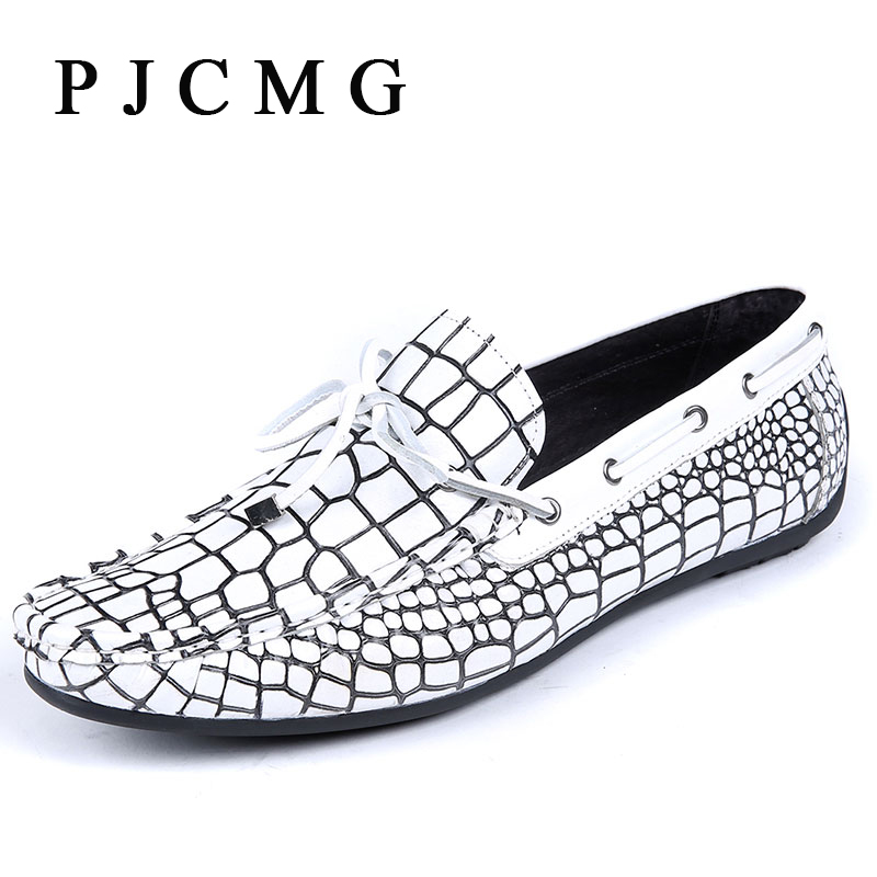 ФОТО PJCMG Fashion Men Moccasins Genuine Embossed Leather Crocodile Casual Flats Loafers Driving Shoes,Business Men Flat Shoes
