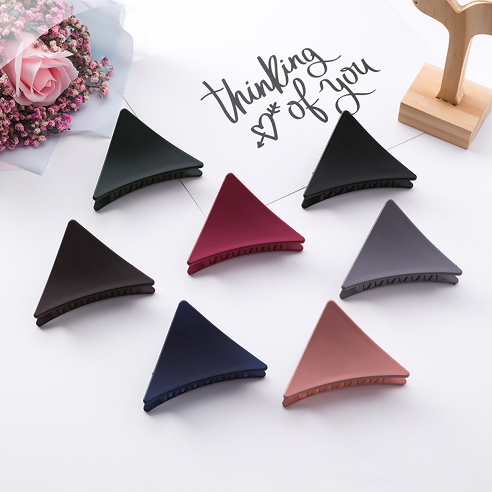 2019 New Women Girls Triangle Hair Claws Acrylic Hair Clips Barrette Crab Clamp Scrub Hairpins Claw   Headwear   Hair Accessories