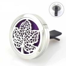 Maple Leaf Car Diffuser Perfume Locket Magnetic Stainless Steel Essential Oil 30mm Floating Lockets 5pcs