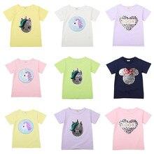 цена на Girls T Shirts Kids Reversible Sequin Tops Boys Summer Mickey Clothing Fashion T-shirt Toddler Unicorn Magic Pattern Cotton Tee