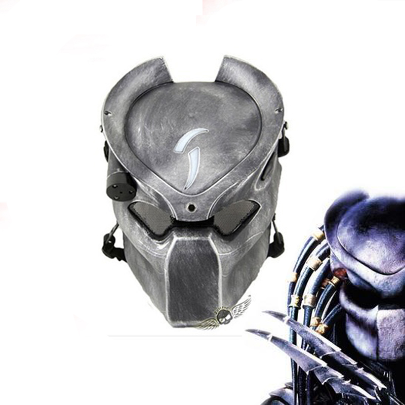 Alien Vs Predator Lonely Wolf Mask With lamp Outdoor Wargame Tactical Mask Full Face CS Mask