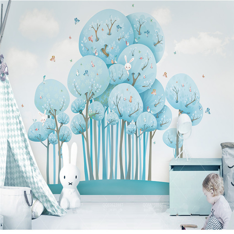 Custom Photo Wall Papers Home Decor Forest Rabbit Wall Murals 3D Wallpapers for Kids Living Room Bedrooms Blue Trees Landscape