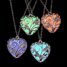 Faux Glow In the Dark Hollow Flower Heart Pendant Necklace Vintage Charm Link Chain Silver Jewelry
