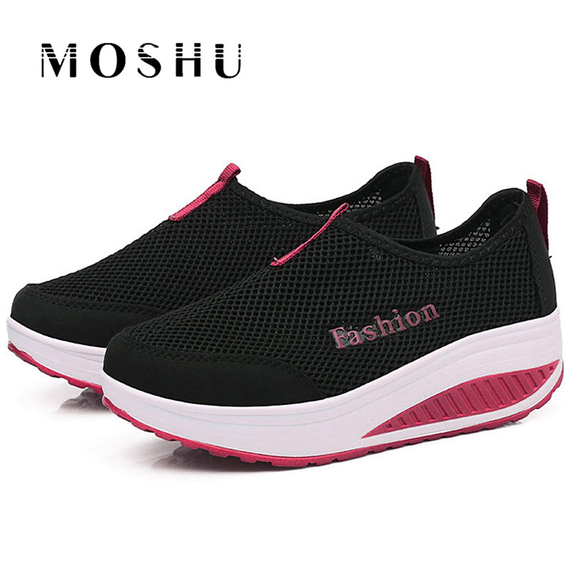 Fashion Women Mesh Sneakers Summer Latform Casual Shoes Female Trainers Slip On Breathable Shoes Ladies Basket Femme