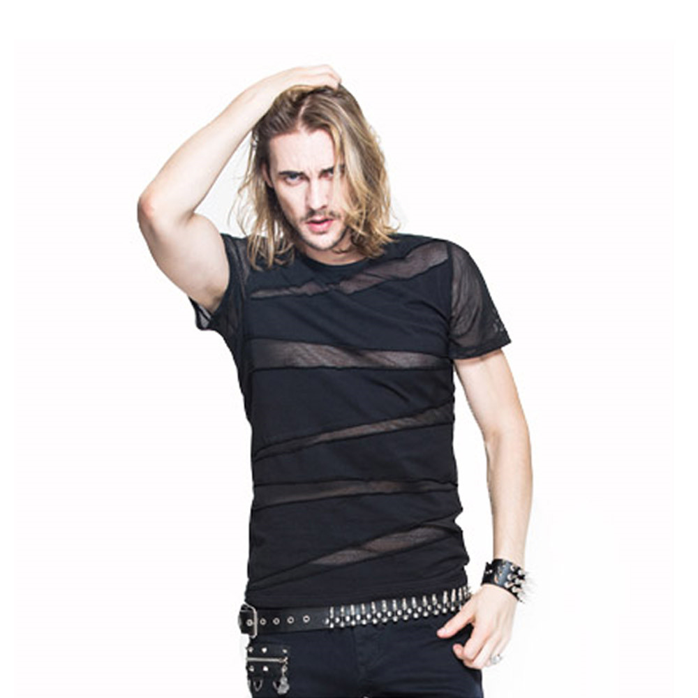 Punk Men Mesh T Shirt Gotic cu maneci scurte Tee Camasi Transparent Casual Topuri T-shirt de vara