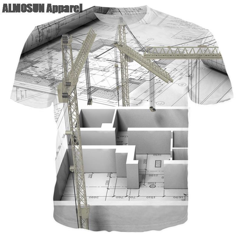 Aliexpress Com Buy Almosun Building Designer Blueprint 3d All Over Print T Shirts Short Sleeve Shirts Hipster Summer Designer Wear Top Tee Unisex From