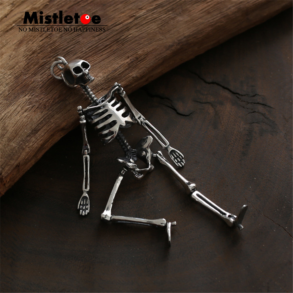Genuine 925 Sterling Silver Vintage Punk Locomotive Skeleton Skull Pendant For Women Men Necklace Jewelry