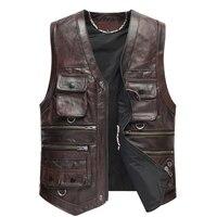 עור גברים אפוד מעיל הלבשה עליונה אופנוע רטרו וינטג עור פרה החדשה אפוד אופנוען TJ12
