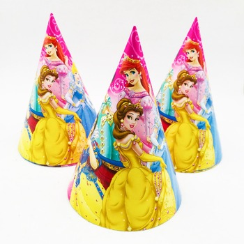 6pc/set Princess Paper Hats Wedding Party Supplies For Baby Shower Kids Girls Cartoon Birthday Party Decoration Festival Favors image