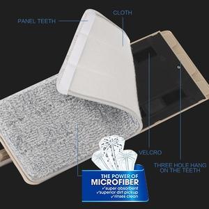 Image 5 - Squeeze Hand Free płaski Mop wiadro z uchwyt ze stali nierdzewnej Wet Dry do czyszczenia podłóg 360 obrotowe głowice z wielokrotnego użytku wkłady do mopa
