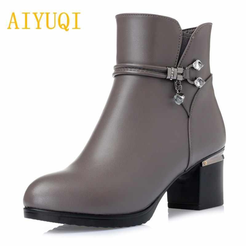 AIYUQI2019 kış yeni 100% doğal hakiki deri kadın yarım çizmeler. Büyük boy 42 43 yün çizmeler kalın sıcak kar botları kadın